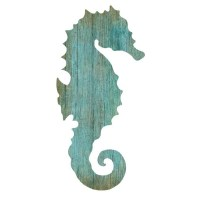 Seahorse Silhouette Facing Right Wall Art - Aqua - Beach ...