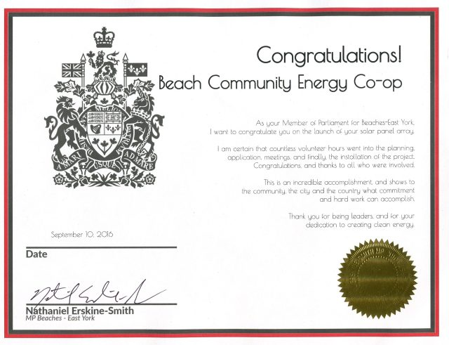 Certificate of Congratulations from Nathaniel Erskine-Smith, MP