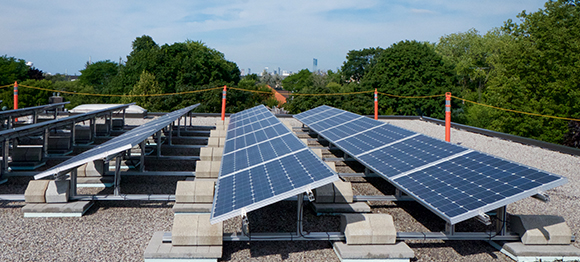 Solar Array on Kew Beach School at roof level