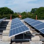 Solar Array on Kew Beach School at roof level