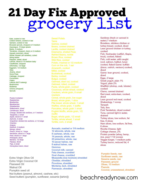 21 Day Fix Food List Momlife