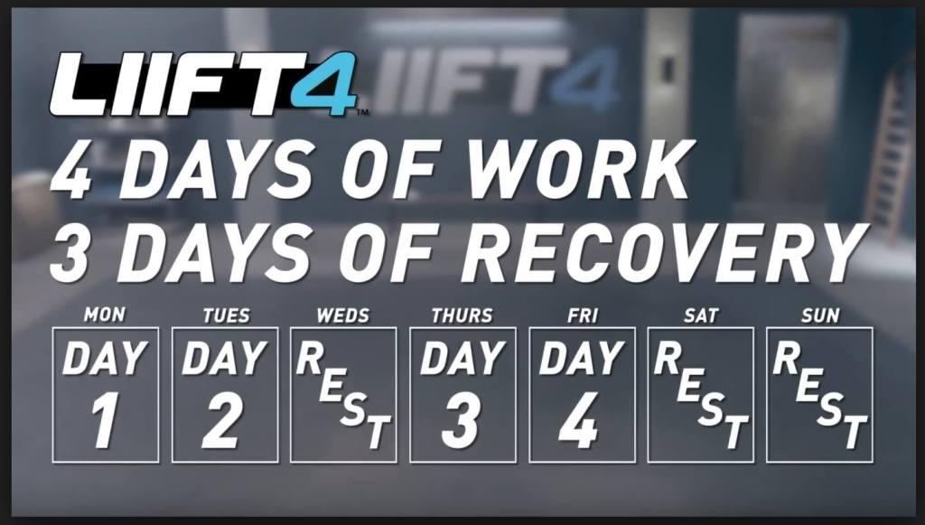 LIIFT 4 Workout Calendar Schedule