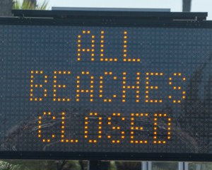 Beaches Closed in OC Sign