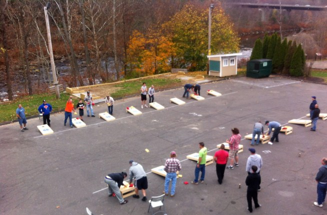 A bird's-eye look at the inaugural Beacon-Holio Cornhole Tournament in 2015.