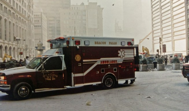 A Beacon Hose ambulance is parked one block away from Ground Zero on Sept. 12, 2001. (Jeremy Rodorigo photo)