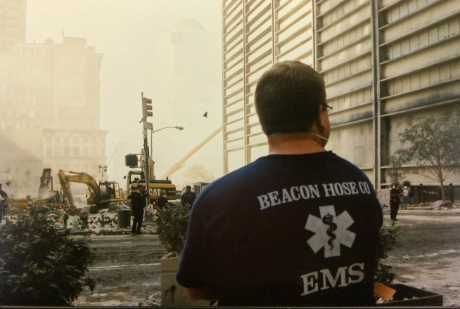 Beacon Hose's Joe Chew looks over the scene at Ground Zero on Sept. 12, 2001. (Jeremy Rodorigo photo)