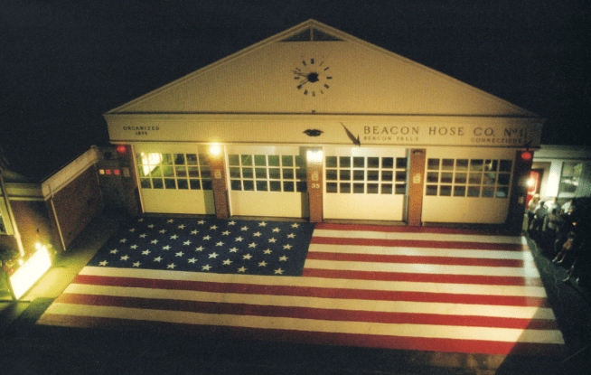 An aerial view at the American flag painted on the front apron of Beacon Hose on Sept. 14, 2001. (Jeremy Rodorigo photo)