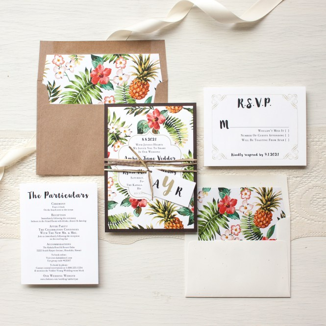 Tropical Fl Wedding Invitations
