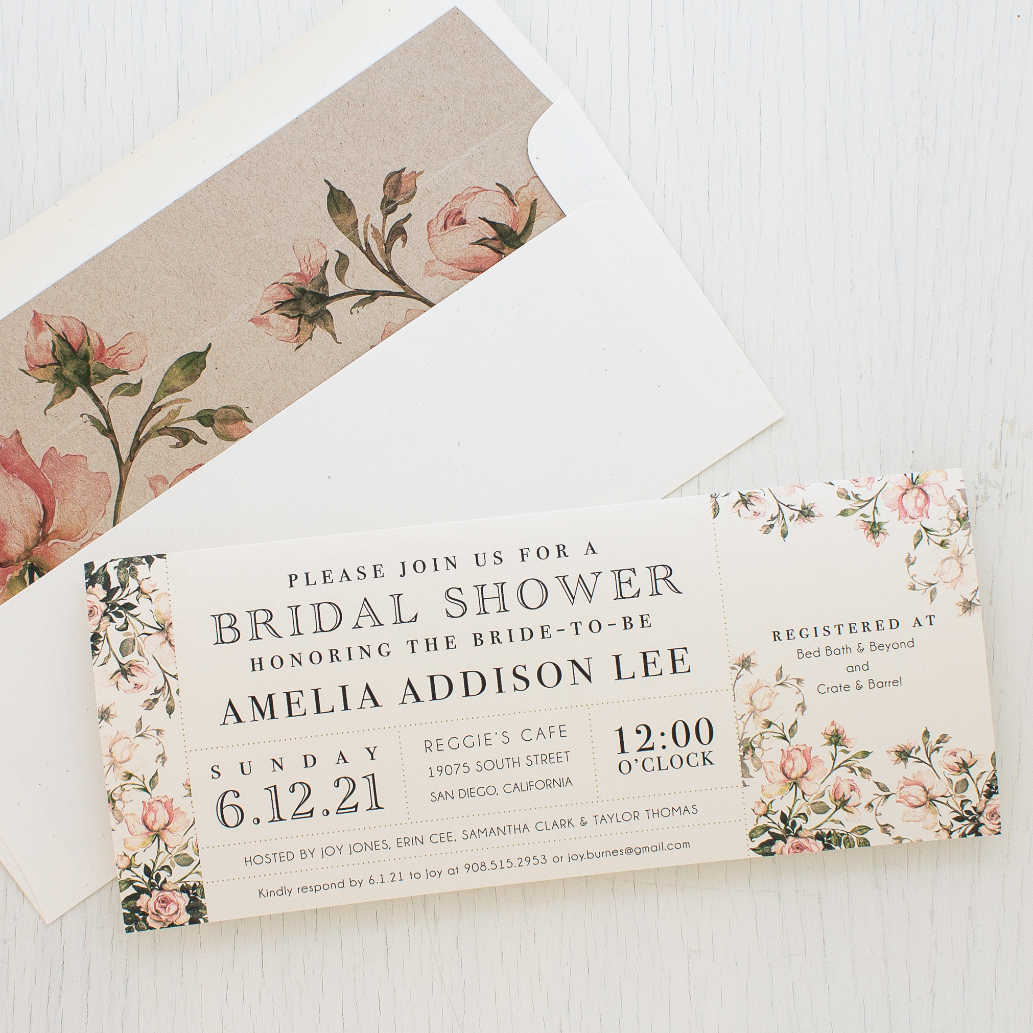 Garden Roses Customizable Bridal Shower Invites  Beacon Lane