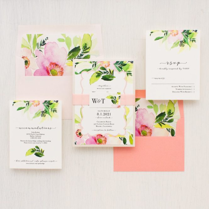 Blush C Fl Wedding Invitations