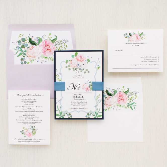 Dusty Blue Fl Wedding Invitations