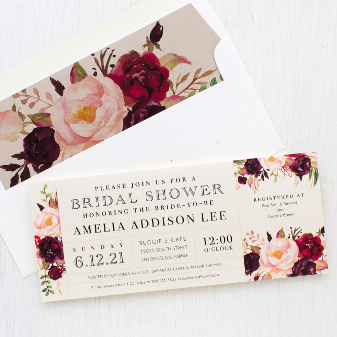 Burgundy Fl Bridal Shower Invitations