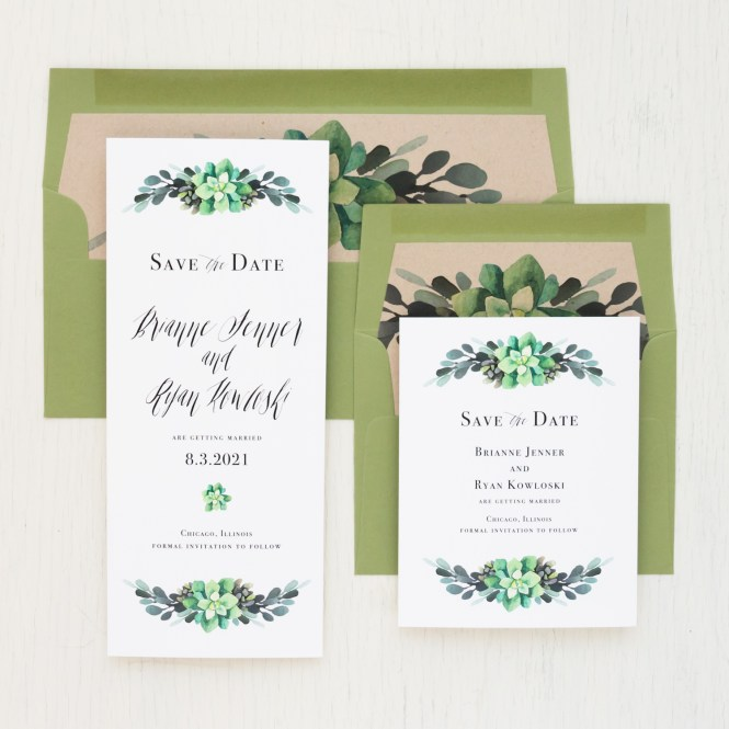 Moss Succulent Save The Dates Beacon