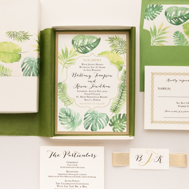 Tropical Green Boxed Wedding Invitations