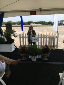"""<p><p><strong>HAILING NEW AND COMING NEIGHBORS</strong> — DeBary Mayor Karen Chasez joins the ceremony to break ground for Rivington's amenities center. """"We look forward to the continued success of Rivington,"""" Chasez told the crowd assembled for the festivities.</p></p><p>BEACON PHOTO/AL EVERSON</p>"""