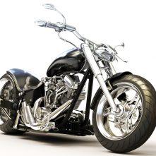 Custom black motorcycle on a white background