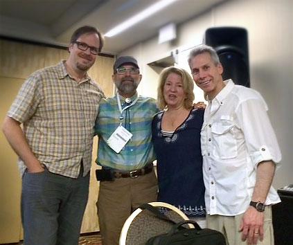 Happy reunion: Eric, Tom, Barbara and Michael.