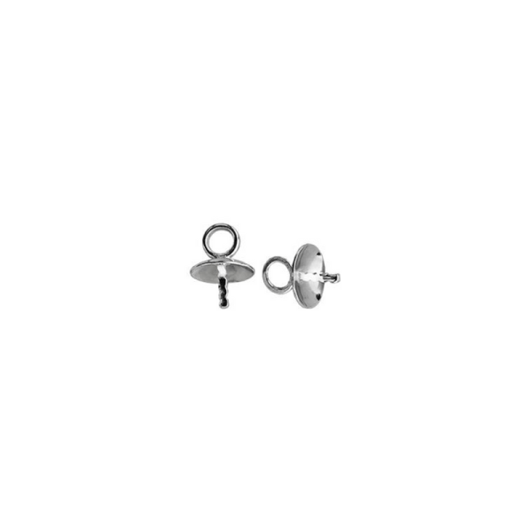 Sterling Silver 4mm Pearl Cup