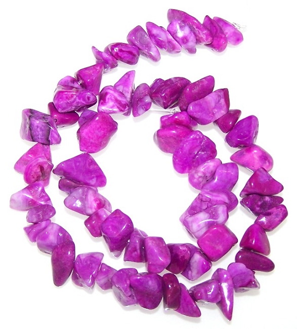 1/2 Strand of Semiprecious Gemstone Chip Beads - Purple Crazy Lace Agate