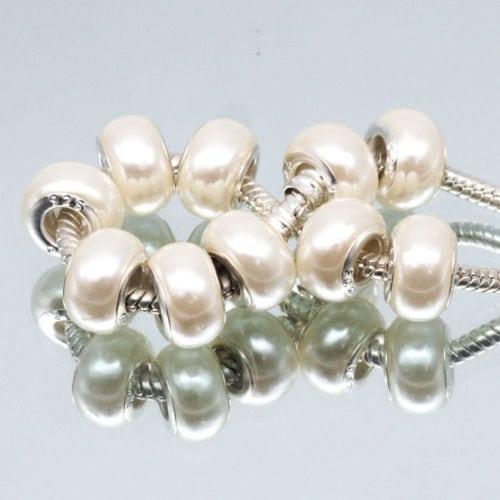 10pcs Fashion Pearl White Acrylic European Beads