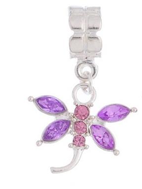 1pc Lavender Gemstone Dragonfly Dangle
