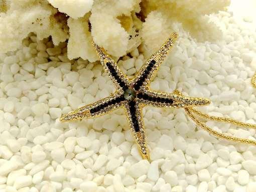 Betsey Johnson Black Starfish Pendant