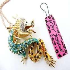 Betsey Johnson Blue Dragon Pendant