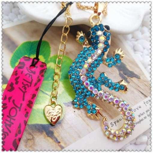 Betsey Johnson Crystal Blue Lizard Pendant