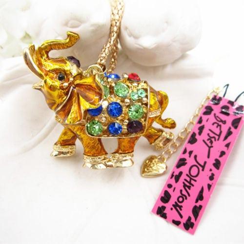 Betsey Johnson Gold Elephant Pendant