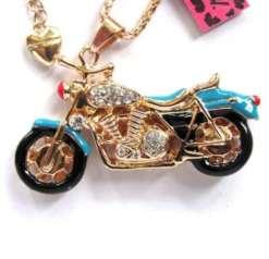 Betsey Johnson Light Blue Motorcycle Pendant