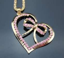 Betsey Johnson Pink Heart Ribbon Pendant