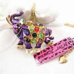 Betsey Johnson Purple Elephant Pendant