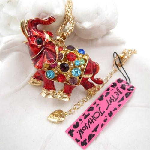 Betsey Johnson Red Elephant Pendant