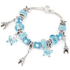 Blue European Bracelet with Eiffel Tower Pendants