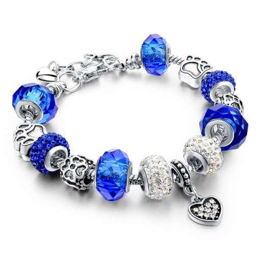 Blue European Bracelet with Heart Pendant