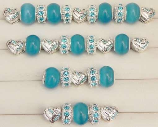 Blue Heart European Beads Collection