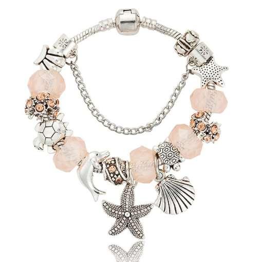 Coral European Bracelet with Nautical Theme
