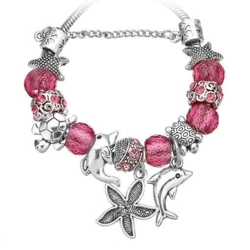 Dark Pink European Bracelet with Nautical Theme