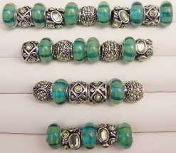 Iridescent Green European Beads Collection