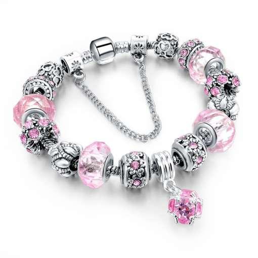 Pink European Bracelet with Gemstone Pendant