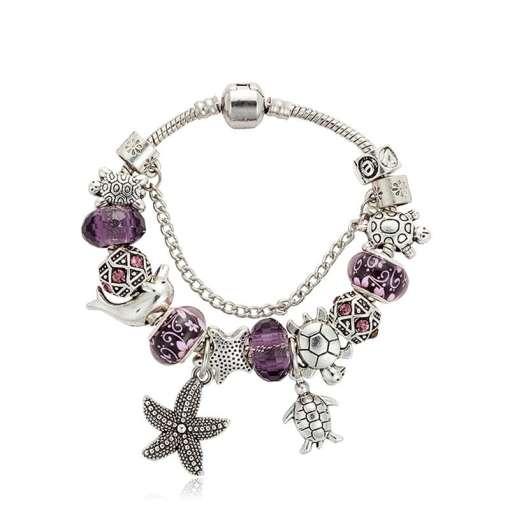 Purple European Bracelet with Nautical Theme