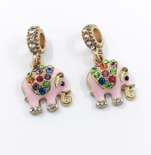 2pcs Pink Elephant Dangles