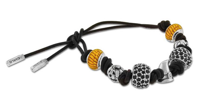 Black Leather bracelet with beads