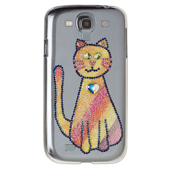 Blingy cat on phone