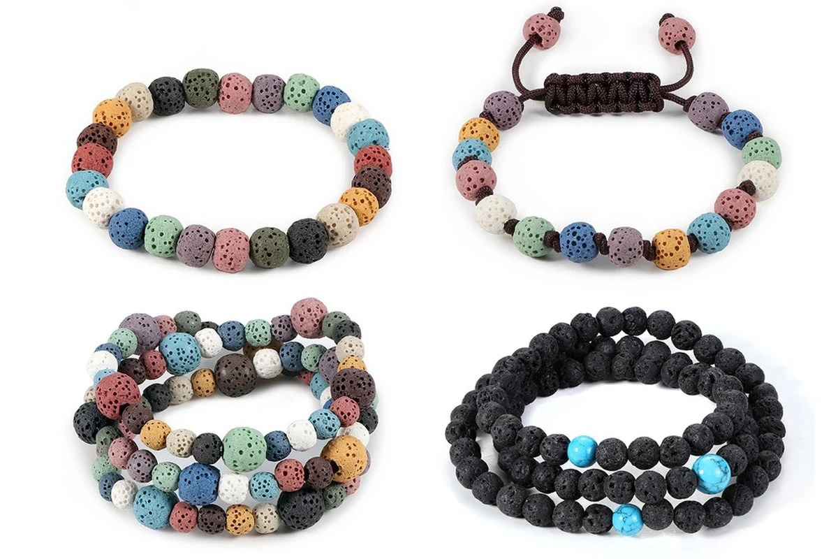 Lave Beaded Bracelet and Necklace