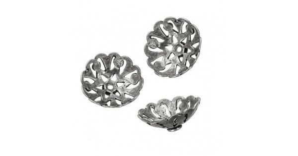 Antique Silver Bali Cut Out Dome Bead End Caps 16mm PK3