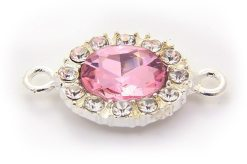 Rose Pink Oval Crystal Connector