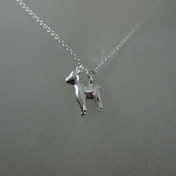 Sterling Silver Reindeer Charm Pendant Necklace 16-24