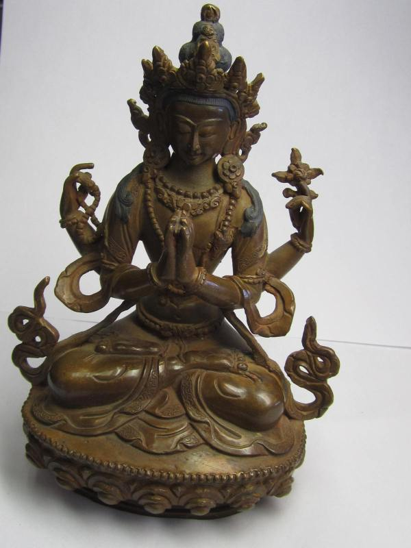 "Tara Hindu Deity Statue - Bronze 6"" Tall. Sealed"