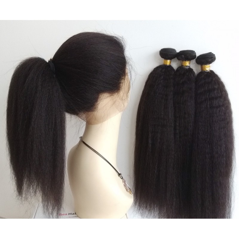 Brazilian Virgin Kinky Straight 360 Frontal With 3 Bundles